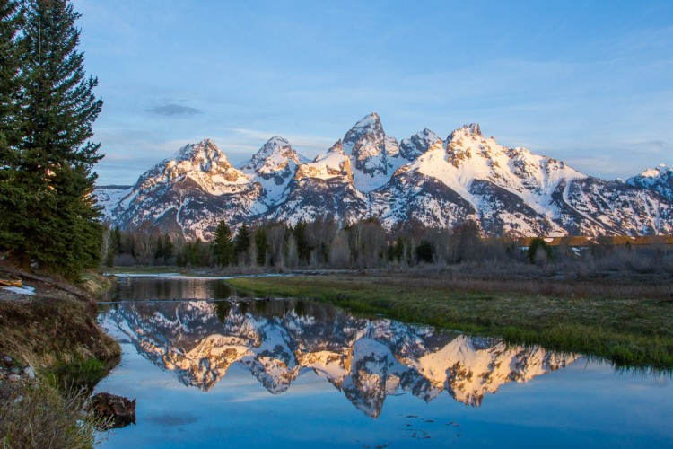 Sunrise at Schwabacher Landing, Jackson Hole.